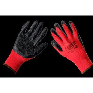 Rękawice Elastyczne Pokryte Lateksem Czerwono-Czarne